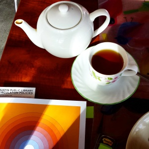 The 2014 East Austin Studio Tour catalog and a pot of tea at Full English